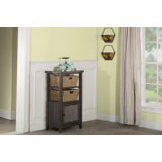 Tuscan Retreat® Basket Stand With Metal Front and Two Baskets - Smoke Product Image