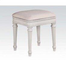 White Bench W/fabric Cushion