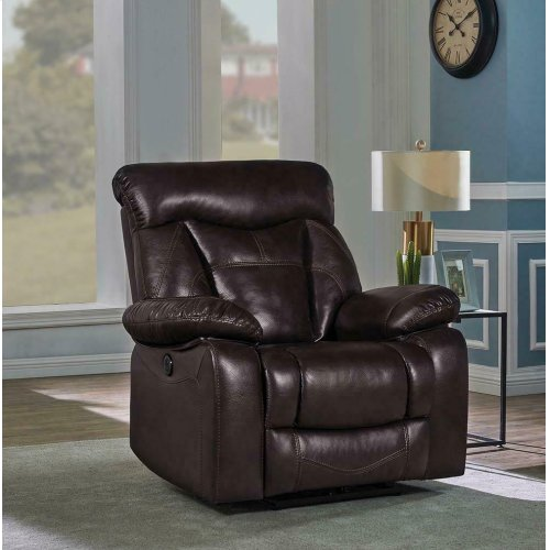 the latest 38138 f2c8c Zimmerman Dark Brown Faux Leather Power Motion Recliner