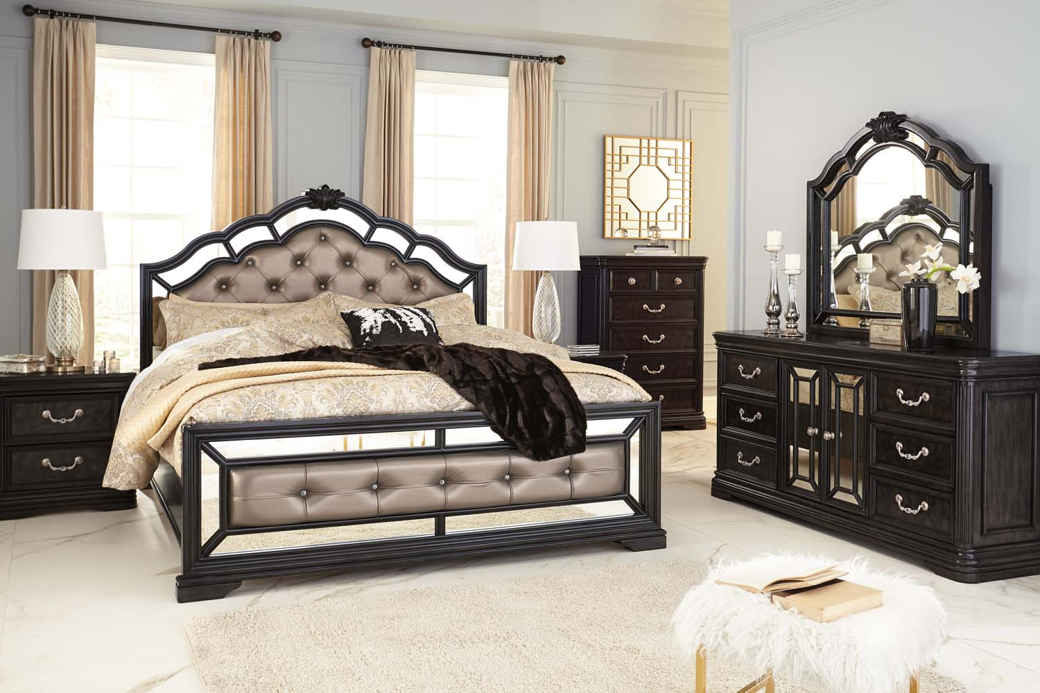 Hidden · Additional Quinshire   Dark Brown 2 Piece Bedroom Set