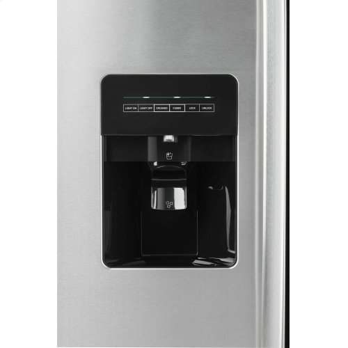 33-inch Side-by-Side Refrigerator with Dual Pad External Ice and Water Dispenser - Black-on-Stainless