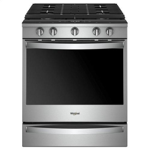 5 8 cu  ft  Smart Slide-in Gas Range with EZ-2-Lift Hinged Cast-Iron Grates
