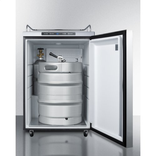 Freestanding Residential Outdoor Beer Dispenser, Auto Defrost With Digital Thermostat, Stainless Steel Wrapped Exterior, and Horizontal Handle; Sold Without Tap Kit for Do-it-yourselfers Who Install Their Own Systems