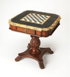 Fossil stone veneer top and reversible chess/ backgammon game board. Resin components. Game pieces not included. Working drawer.
