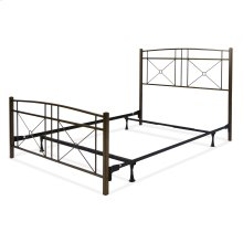 Russett Complete Metal Bed and Steel Support Frame with Modest Sloping Top Rails, Liquid Bronze Finish, King
