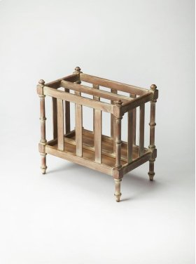 This calming, Driftwood finished organizer will help keep your space in order. Its rich finish does not take away from the shape or functionality of the piece. The Holden magazine basket is sure to be a help to you.