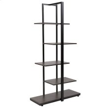 Driftwood Finish 5-Tier Decorative Shelf with Black Metal Frame