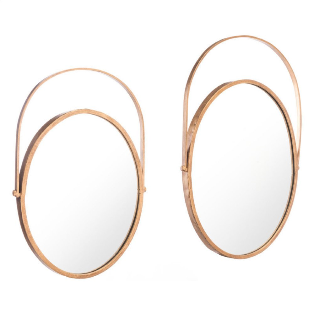 Set Of 2 Oval Mirrors Gold