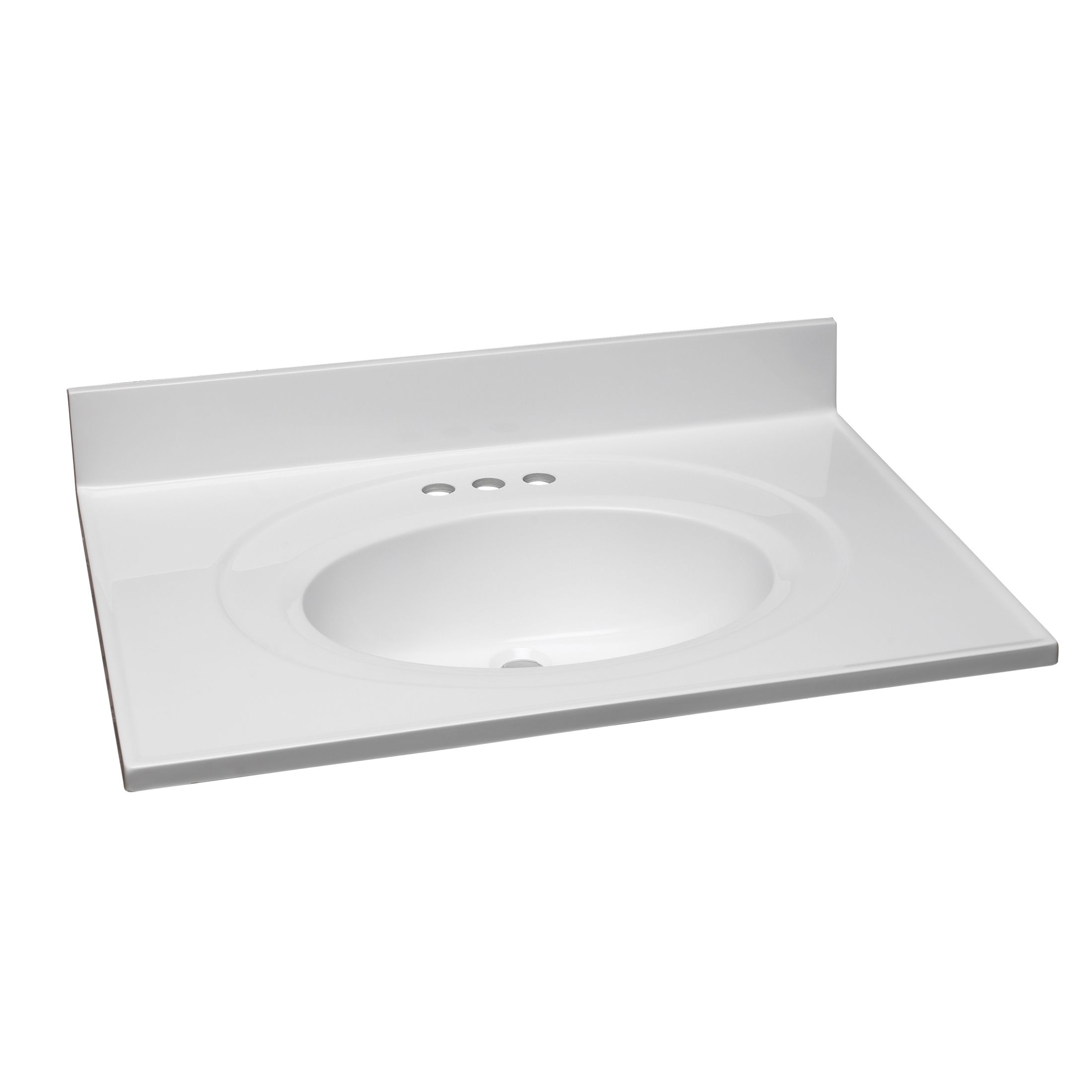 31-Inch by 22-Inch Marble Vanity Top/Single Bowl, Solid White #551374