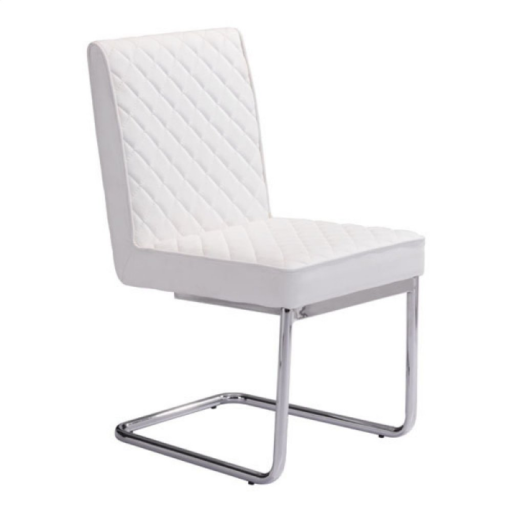 Quilt Armless Dining Chair White