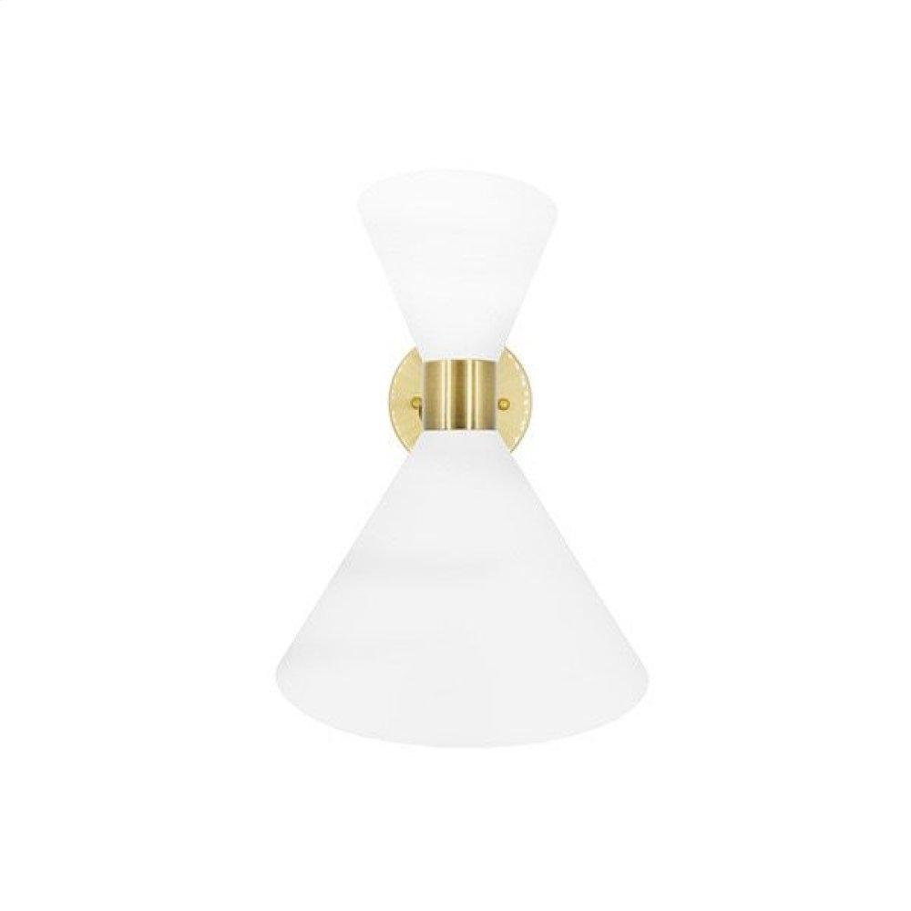 Metal Shade Sconce With Antique Brass Detail In Matte White