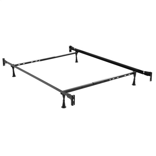 Deland Complete Metal Bed and Steel Support Frame with Arched Rails and Finial Posts, Brown Sparkle Finish, Full