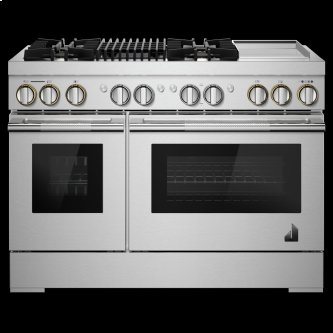 """RISE™ 48"""" Dual-Fuel Professional Range with Chrome-Infused Griddle and Gas Grill"""