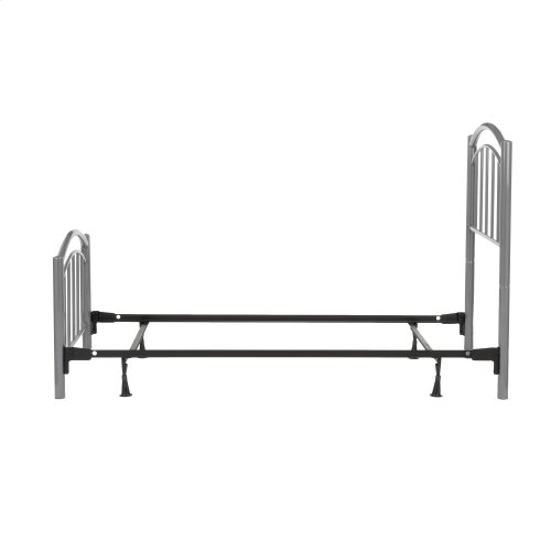 Rylan Fashion Kids Complete Metal Bed and Steel Support Frame with Gently Arced Panels and Vertical Spindles, Shadow Gray Finish, Twin