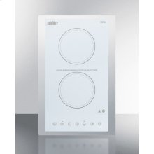 """115v 2-burner Cooktop In White Ceramic Schott Glass With Digital Touch Controls and Stainless Steel Frame To Allow Installation In 15"""" Wide Counter Cutouts"""""""