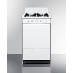 "SummitWhite Gas Range In Slim 20"" Width With Electronic Ignition"