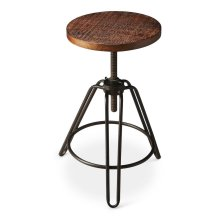 This charming industrial-look barstool revolves and adjusts to the desired height, making it an ideal seat for all sizes and tables. With a distressed recycled wood seat, its three-legged design ensures stability and iron circle base serves as a convenien