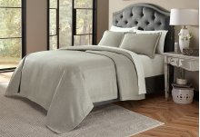 3pc Queen Bed Throw Set Gray
