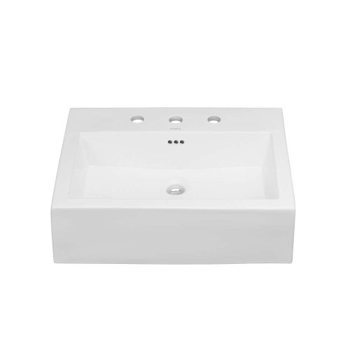 """Prominent™ 24"""" Ceramic Sinktop with 8"""" Widespread Faucet Hole in White"""