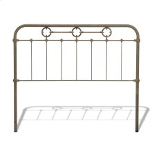 Madera Metal Headboard Panel with Intricate Carved Castings and Brass Color Plated Designs, Rustic Green Finish, Queen
