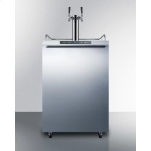 Freestanding Residential Outdoor Beer Dispenser, Auto Defrost With Digital Thermostat, Stainless Steel Wrapped Exterior, Horizontal Handle, and Dual Tap System