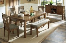 6 PIECE DINING SET (TABLE, BENCH AND 4 CHAIRS)