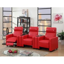 Arcadia Red Push-Back 3-Piece Reclining Theater Set