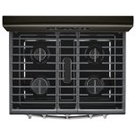 Whirlpool 5.0 cu. ft. Freestanding Gas Range with Center Oval Burner Black Stainless