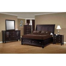 Sandy Beach Cappuccino King Sleigh Bed With Footboard Storage