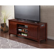 Mission 60 inch Entertainment Console with Adjustable Shelves and Charging Station in Walnut