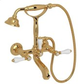 Italian Brass Hex Exposed Wall Mount Tub Filler With Handshower with White Porcelain Lever