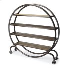 Your search for the most heart-stopping steampunk design element is over. The Orion Bookcase tops the charts with its fashion-forward profile, featuring a round double-layered metal frame securing four shelves of varying length. Charming wheeled legs add Product Image