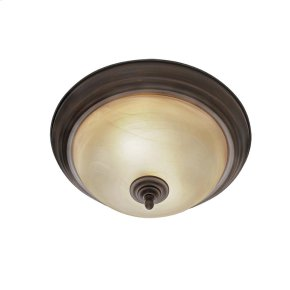 Lancaster Flush Mount in Rubbed Bronze with Antique Marbled Glass