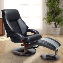 Mandal Recliner and Ottoman in Black Top Grain Leather
