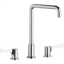 "Elkay 8"" Centerset Concealed Deck Mount Faucet with Arc Tube Spout and 4"" Lever Handles Chrome"