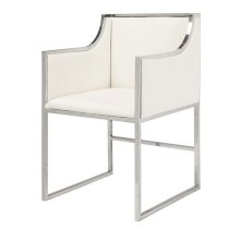 "White Linen Dining & Occasional Chair With Nickel Frame. Seat Height: 20"" Arm Height: 28"""