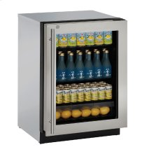 """Modular 3000 Series 24"""" Glass Door Refrigerator With Stainless Frame (lock) Finish and Right-hand Hinged Door Swing (115 Volts / 60 Hz)"""