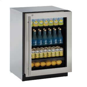"U-LineModular 3000 Series 24"" Glass Door Refrigerator With Stainless Frame (lock) Finish and Right-hand Hinged Door Swing (115 Volts / 60 Hz)"