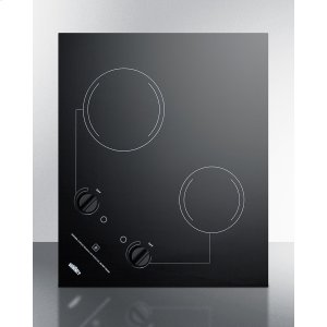 Summit2-burner 120v Electric Cooktop Designed for Portrait or Landscape Installation, With Smooth Black Ceramic Glass Surface