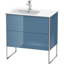 Vanity Unit Floorstanding, Stone Blue High Gloss Lacquer