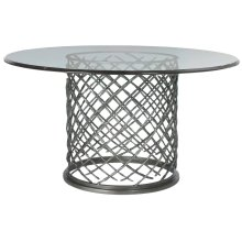 "Hallam Metal Dining Table with Glass Top (60"")"