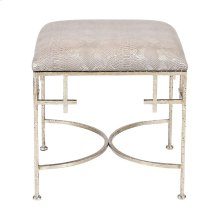 Hammered Silver Leaf Stool W. Faux Snakeskin Upholstered Top