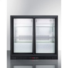 Commercial Back Bar Beverage Center for Freestanding Use, With Sliding Glass Doors and Black Cabinet; Replaces Scr700