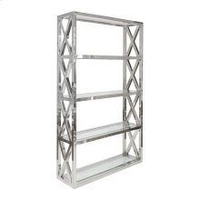 Stainless Crosshatch Etagere With Five Clear Glass Shelves.
