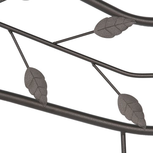 Sycamore Metal Headboard and Footboard Bed Panels with Leaf Pattern Design and Round Final Posts, Hammered Copper Finish, Queen