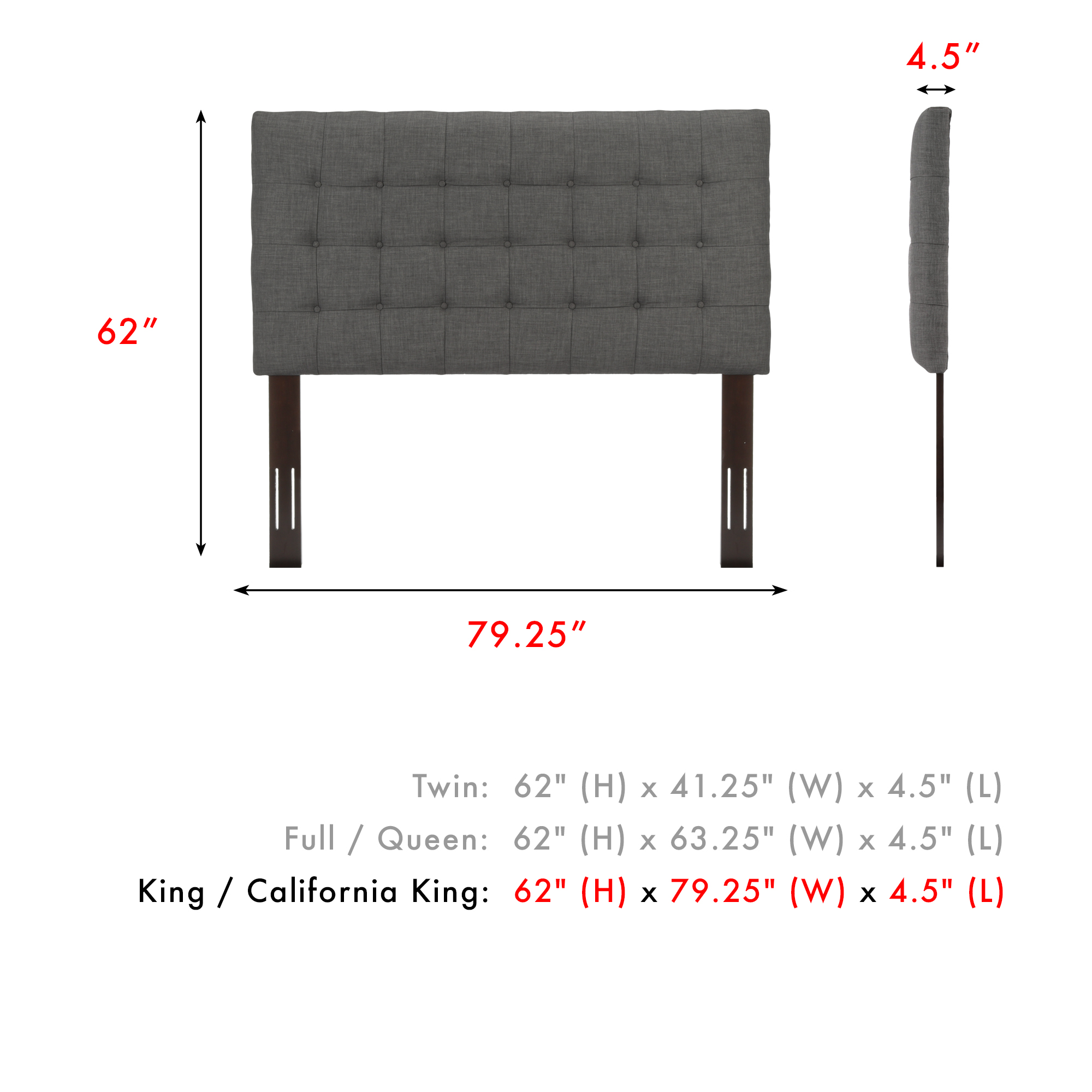 8aab030bd53a Fashion Bed Group Strasbourg Button-Tuft Upholstered Headboard With  Adjustable Height