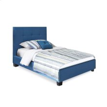 Henley Fashion Kids Complete Upholstered Bed and Bedding Support System with Button-Tuft Headboard, Denim Blue Finish, Full