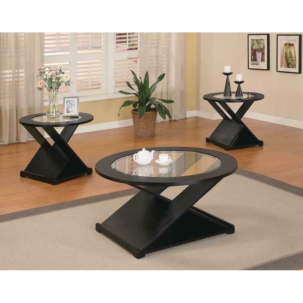 Contemporary Black Round Three-piece Table Set
