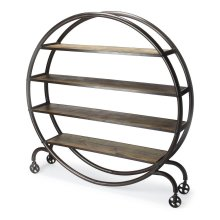 Your search for the most heart-stopping steampunk design element is over. The Orion Bookcase tops the charts with its fashion-forward profile, featuring a round double-layered metal frame securing four shelves of varying length. Charming wheeled legs add