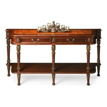 Made of select solid woods, resin components, cherry and olive ash burl veneers. Gold-tip accents on sides, drawer fronts and legs. Two drawers with antique brass finished hardware and bottom display shelf.